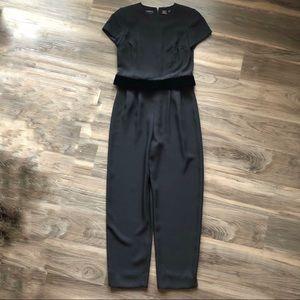 Liz Claiborne Black Velvet Short Sleeve Jumpsuit